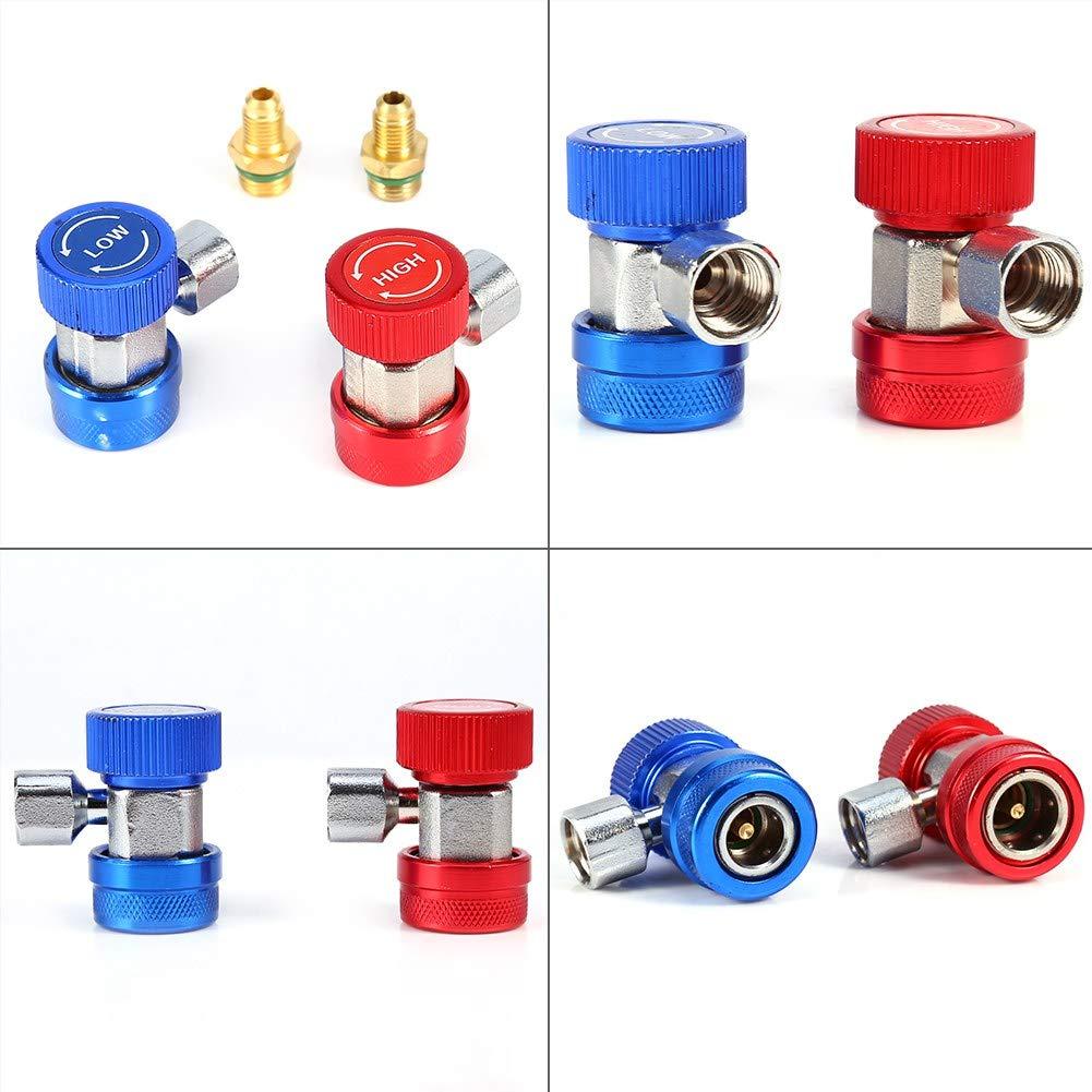 Suuonee Conector r/ápido de gas R-134a 2x R134A Aire acondicionado de CA Acoplador r/ápido ajustable Conector adaptador alto-bajo