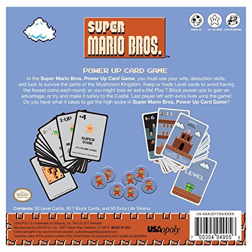 Super Mario Bros. Power Up Card Game 3-8 Players