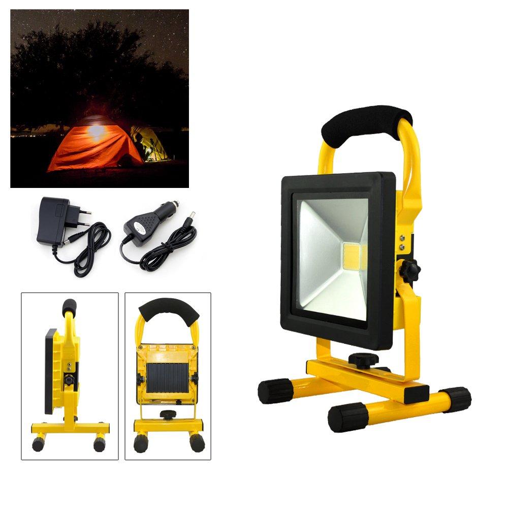 Hengda® 20W amarillo blanco frío LED Foco Recargable proyector para Trabajo de Noche Lámpara Camping IP65 [Clase de eficiencia energética A++]