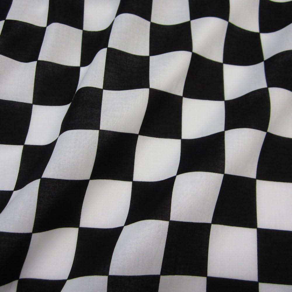 Tela de algodón al metro objetivo bandera de Fórmula 1 carrera de tablero de ajedrez en blanco y negro: Amazon.es: Hogar