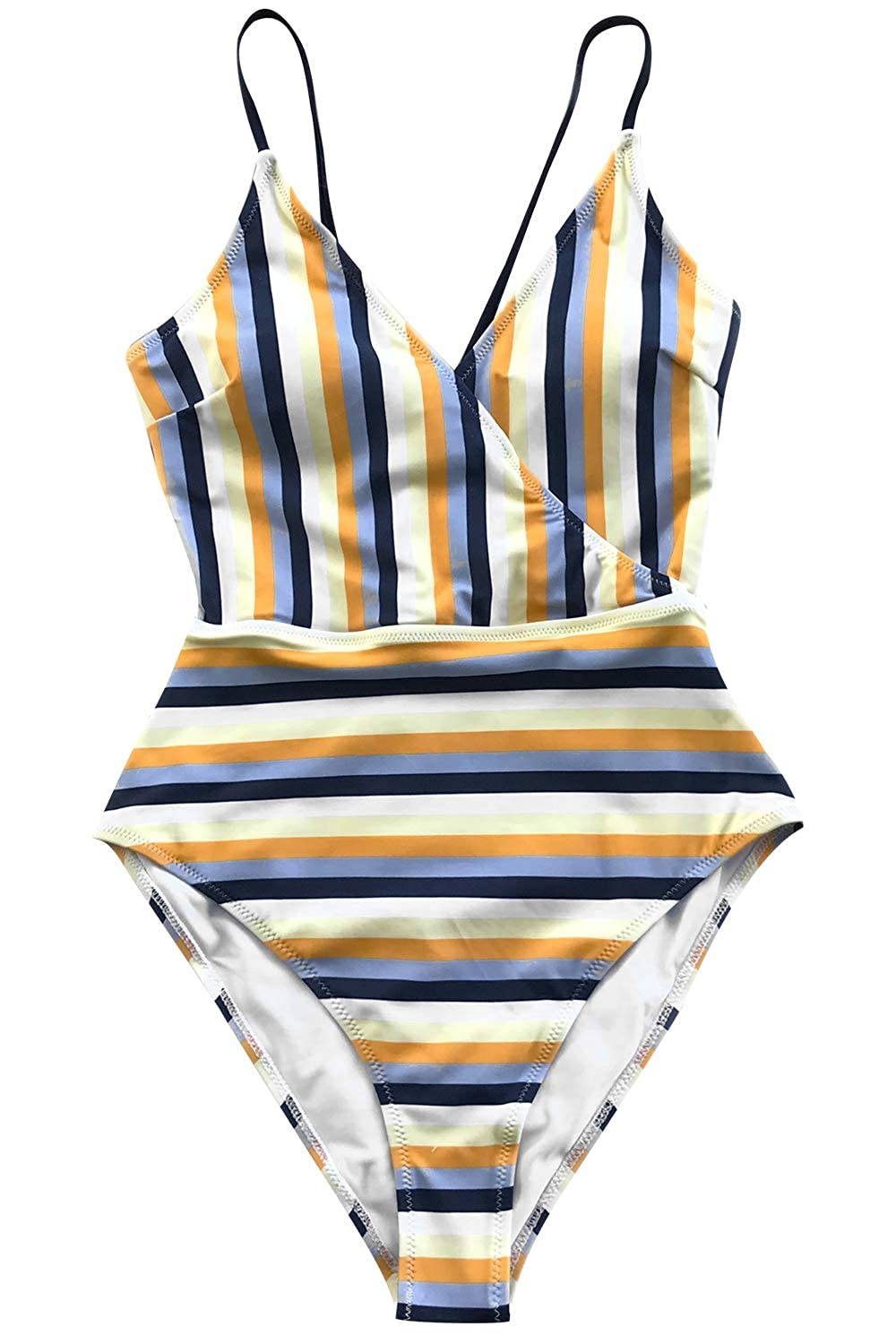 CUPSHE Womens Blue and Yellow Stripe High Leg Cut One-Piece Swimsuit