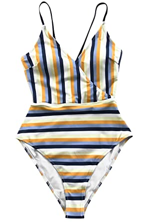 9b2b9092f84 CUPSHE Women's Blue and Yellow Stripe High Leg Cut One-Piece Swimsuit Small