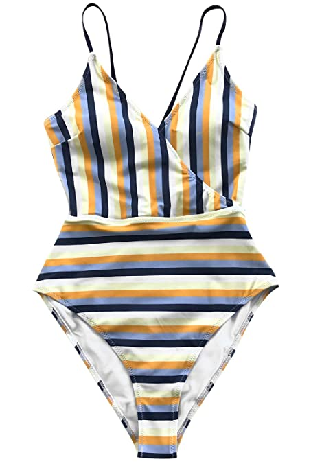 ab415f31911 CUPSHE Women's Blue and Yellow Stripe High Leg Cut One-Piece Swimsuit at  Amazon Women's Clothing store: