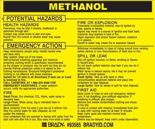 Brady 93565,  Hazardous Material Label:Dot 5800.4-1987, 3 3/4