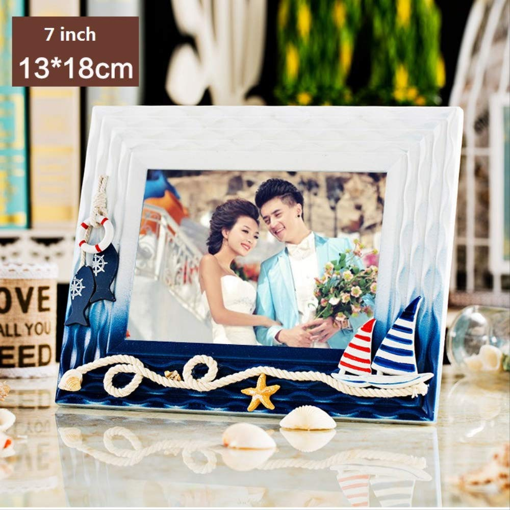 7inch heng Mediterranean style YKDDII Picture Frames Multisize Photo Frames Creative Wood Tabletop Frame 3''5''7'' Mini Picture Frames Home Art Decor Gifts Classic Fashion Multifunction Photo Frame