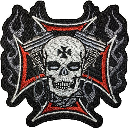Papapatch Cross Motor Skull Motorcycle Biker Costume DIY Applique Embroidered Sew on Iron on Patch (IRON-ON-CROSS-MOTOR-SKULL)
