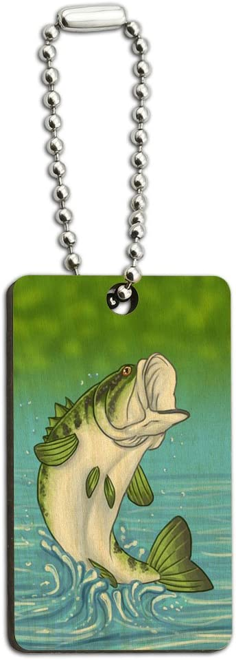 Graphics and More Bass Fish Fishing Jumping Out of Water Wood Wooden Rectangle Key Chain