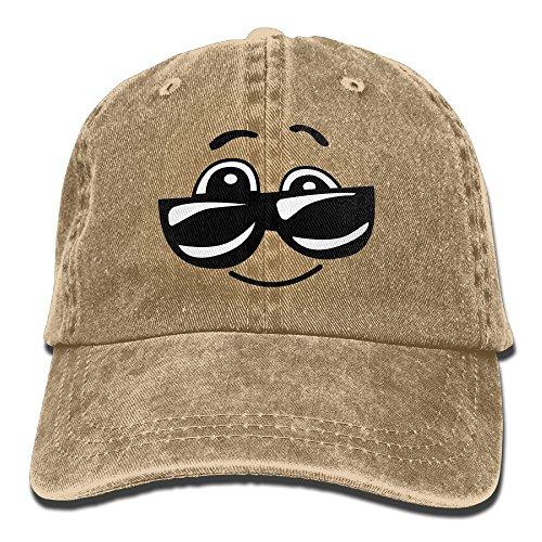 OHMYCOLOR Comic Sunglasses Happy Smile Emoji Denim Adjustable Baseball Caps For Mens Womens Cute Hip Hop Trucker Hats - Army Sunglasses Indian