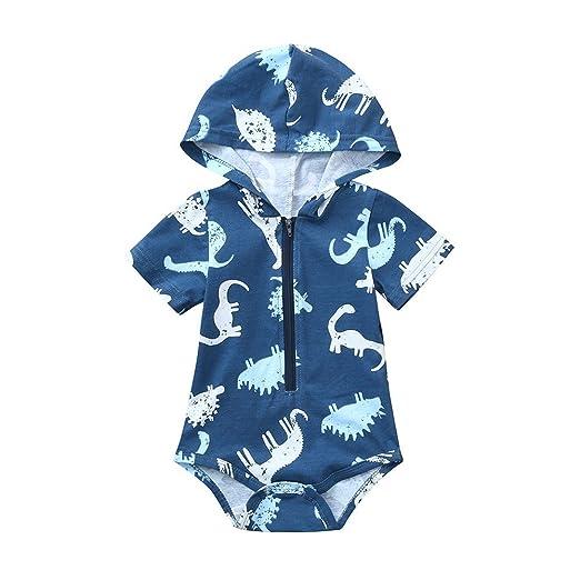 42d35ef7540 Amazon.com  Fineser Baby Boys Girls Dinosaur Zipper Hooded Rompers Jumpsuit  Short Sleeve Harem Bodysuit  Clothing