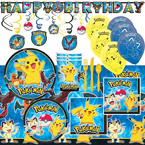 Deluxe-Pokemon-Pikachu-and-Friends-Birthday-Party-Pack-Decoration-Kit-For-16