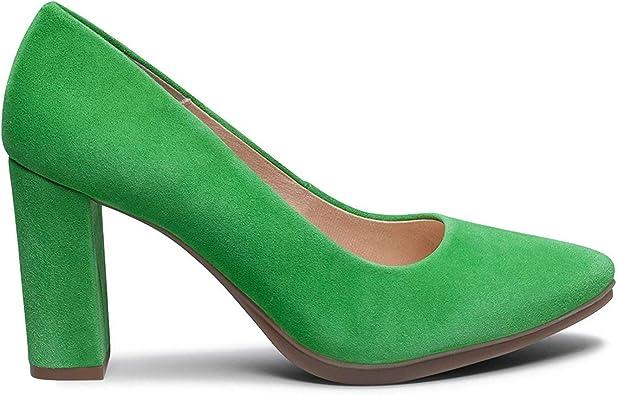MiMao - Zapatos de tacón alto para mujer, de ante y de estilo clásico, para primavera, verano, Verde (verde hierba), 36 EU: Amazon.es: Zapatos y complementos