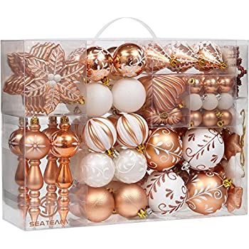 sea team 108 pack assorted shatterproof christmas ball ornaments set decorative baubles pendants with reusable