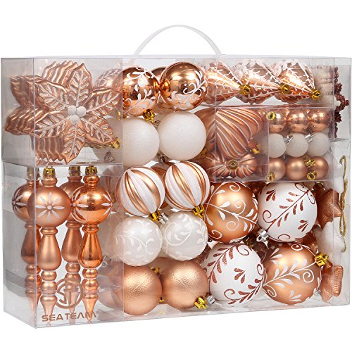 - Sea Team 108-Pack Assorted Shatterproof Christmas Ball Ornaments Set Decorative Baubles Pendants with Reusable Hand-held Gift Package for Xmas Tree (Copper)