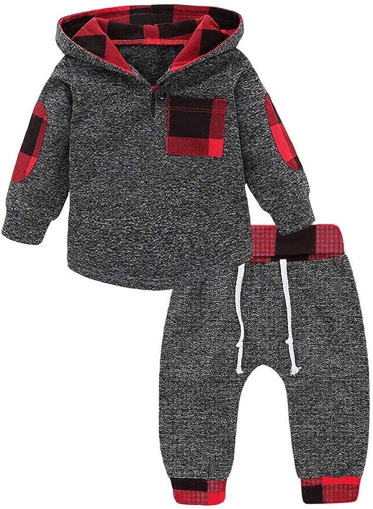 QXLhxuIo Plaid mit Kapuze Pullover Tops Hosen Outfits Set Sweater Familie Kleidung Kleinkind Kinder M/ädchen Jungen Jumpsuit Baby Langarm Plaid Hoodie Sweatshirt Hose Zweiteiler Outfits