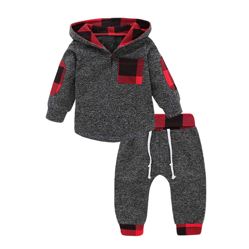 Robemon vêtement bébé Infant Toddler Baby Boys Filles à Carreaux à Capuche Pulls Tops Ensemble de Tenues 2pcs Hoodie Sweater Suit 6Mois-3Ans