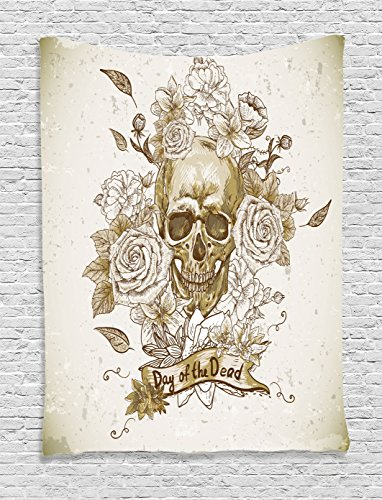 Ambesonne Skulls Decorations Collection, Skull with Roses Day of The Dead Sign Horror Mexican Traditional Art , Bedroom Living Room Dorm Wall Hanging Tapestry, Vanilla White (Day Of The Dead Party Ideas)