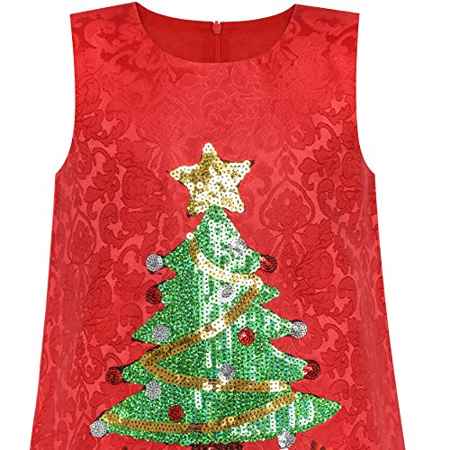 Holiday A Xmas Tree Girls Red Sequin Christmas Dress Sparkling Party line npTxAq8