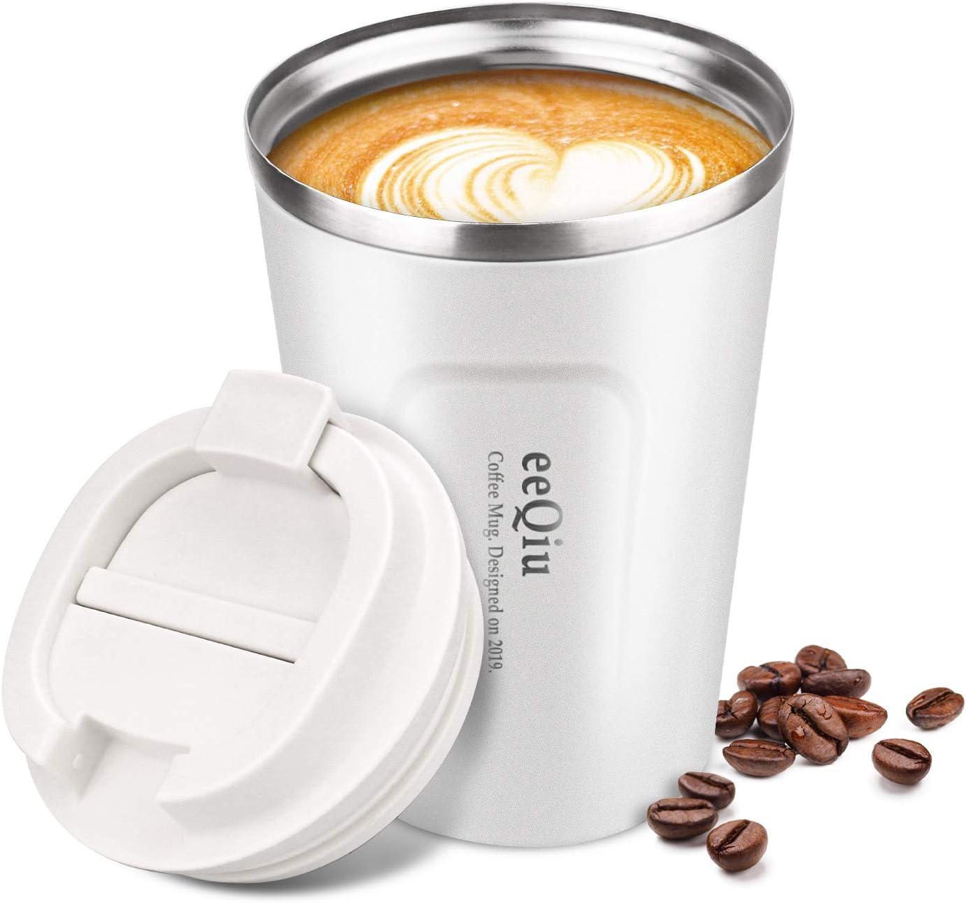 Taza de café reutilizable, taza de viaje de 13 oz hecha de acero inoxidable con aislamiento de doble pared Tapa 100% a prueba de fugas Tapa de automóvil ecológica para café, té y cerveza (blanco)