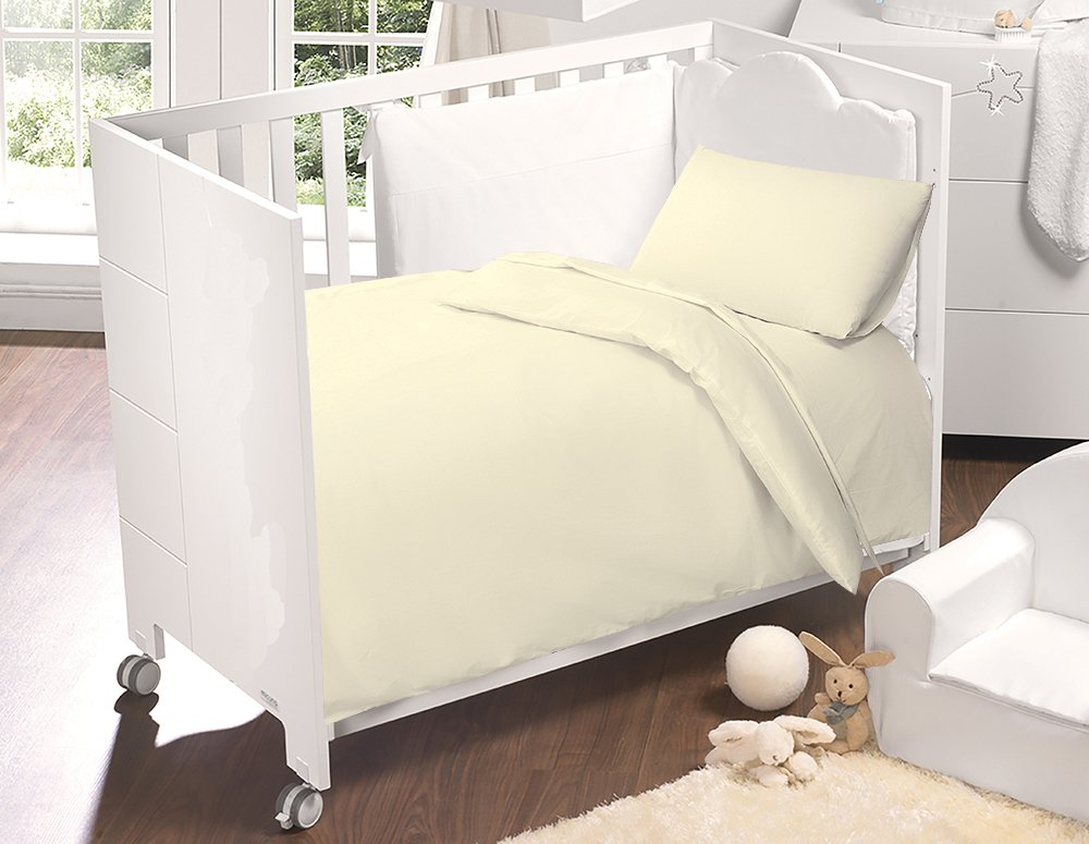 Love2Sleep 100% EGYPTIAN COTTON COT DUVET COVER 100 X 120 CM & PILLOWCASE SET : CREAM