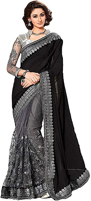 b13fd44cc5f3ca Mirraw Black and Silver Designer Embroidery Party Wear Saree with  Unstitched Blouse