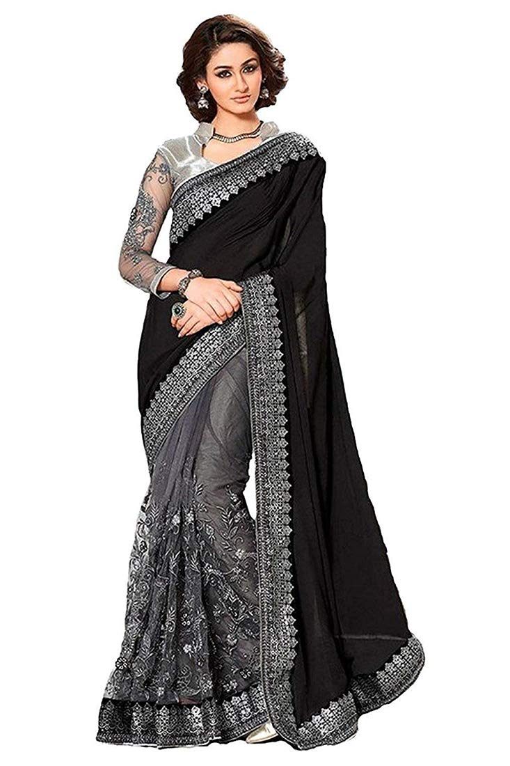 Mirraw Black and Silver Designer Embroidery Party Wear Saree with Unstitched Blouse