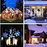 MZD8391 Christmas Projector Light Moving Snowflake LED Landscape Projection Lights Outdoor/Indoor Decor Spotlights Stage For Halloween Party Holiday Home Decoration Garden Tree Wall