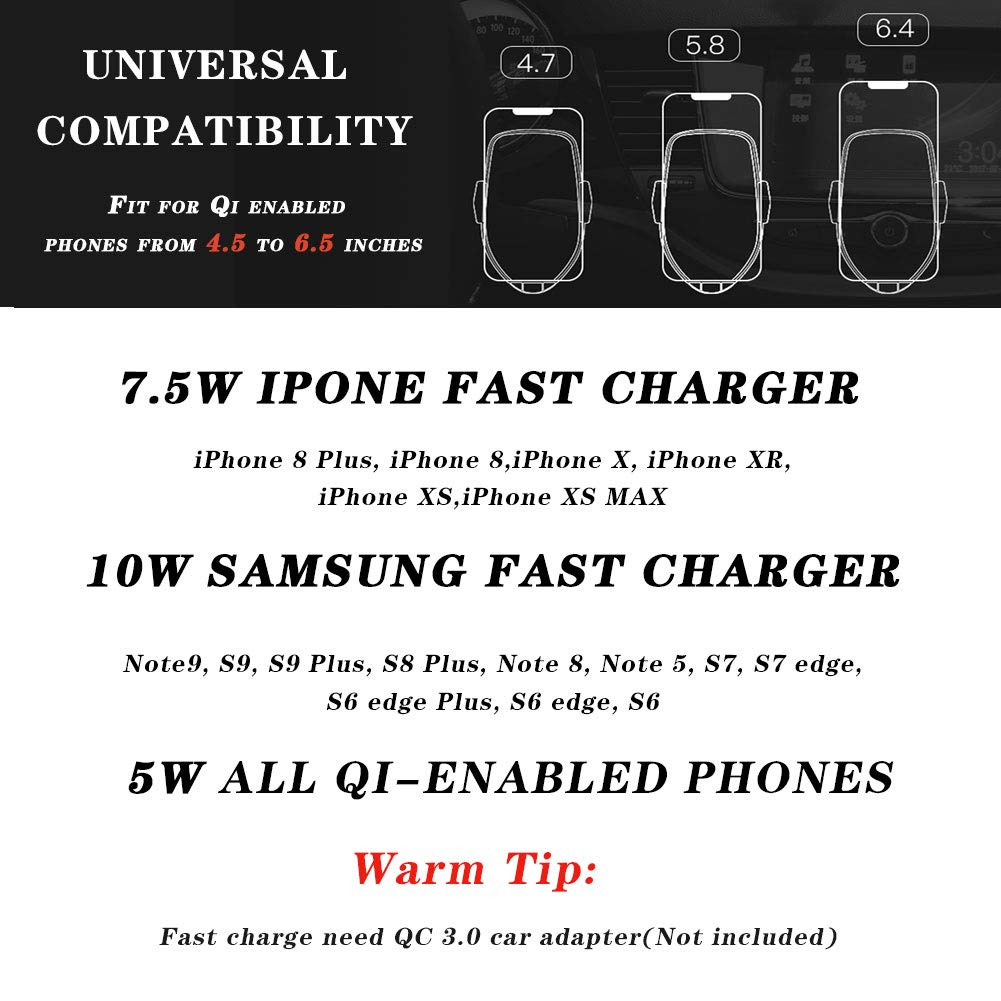 note 8 Woeau Wireless Car Charger Mount,Automatic Clamping QI Fast 10W 7.5W /& 5W Charging,Windshield Dashboard And Air Vent Phone Holder,Compatible iPhone X//Max//Xs//XR//8 Plus,Samsung Galaxy S10 //S9//S8