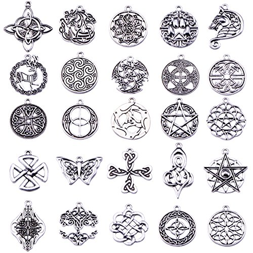 Celtic Irish Knot Charms Pack of 25pcs (Antique Silver) (Celtic Womens Charm)