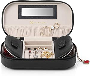 Vlando Gift Packing Travel Essentials Tassels Jewelry Box/Bag (Black)