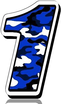 Biomar Labs Startnummer Nummern Auto Moto Vinyl Aufkleber Sticker Blaue Tarnung Camouflage Motorrad Motocross Motorsport Racing Nummer Tuning 1 N 211 Auto