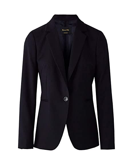 30127e5ffc04 MASSIMO DUTTI Women's Slim fit Textured Weave Wool Blazer 6071/598 (40 EU)