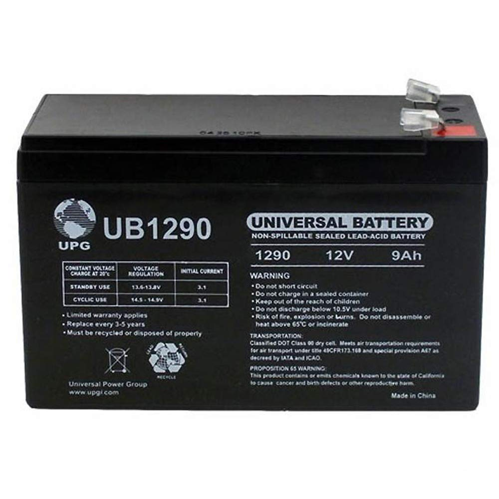 12 Volt 9 Amp Hour UB1290 Sealed Lead Acid Battery Replacement with F2 Terminals by UPG 40748