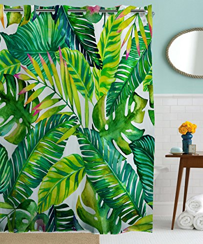 Hookless Shower Curtains by Goodbath, Banana Leaves Floral Fabric Waterproof and Mildew Resistant Bathroom Curtain Set with Hooks, Green White Floral Curtain Fabric