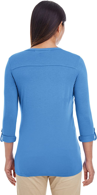 Devon /& Jones Womens Y-Placket Convertible Sleeve Knit Top DP186W