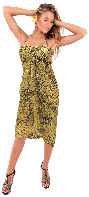 La Leela leichten Chiffon künstlerisch alles in einem Strand loung Abnutzung/Badeanzug vertuschen/Tunika/sundress/Bikini Schlitz Rock/Damen wickeln Pareo/plus Größe Badeanzug Sarong Kleid 182x108 cm