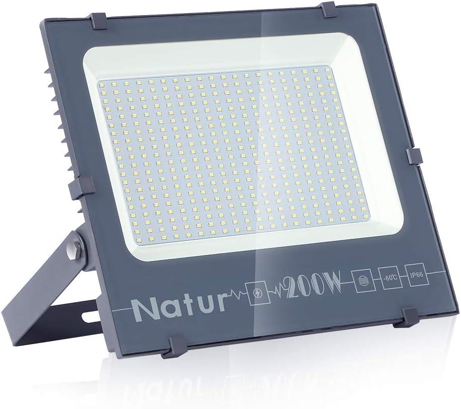 200W LED Foco Exterior de alto brillo,20000LM Impermeable IP66 Proyector Foco LED, Iluminación de Seguridad, 6000K Blanco Frío para Pared,Patio, Camino, Jardín [Clase de eficiencia energética A++]
