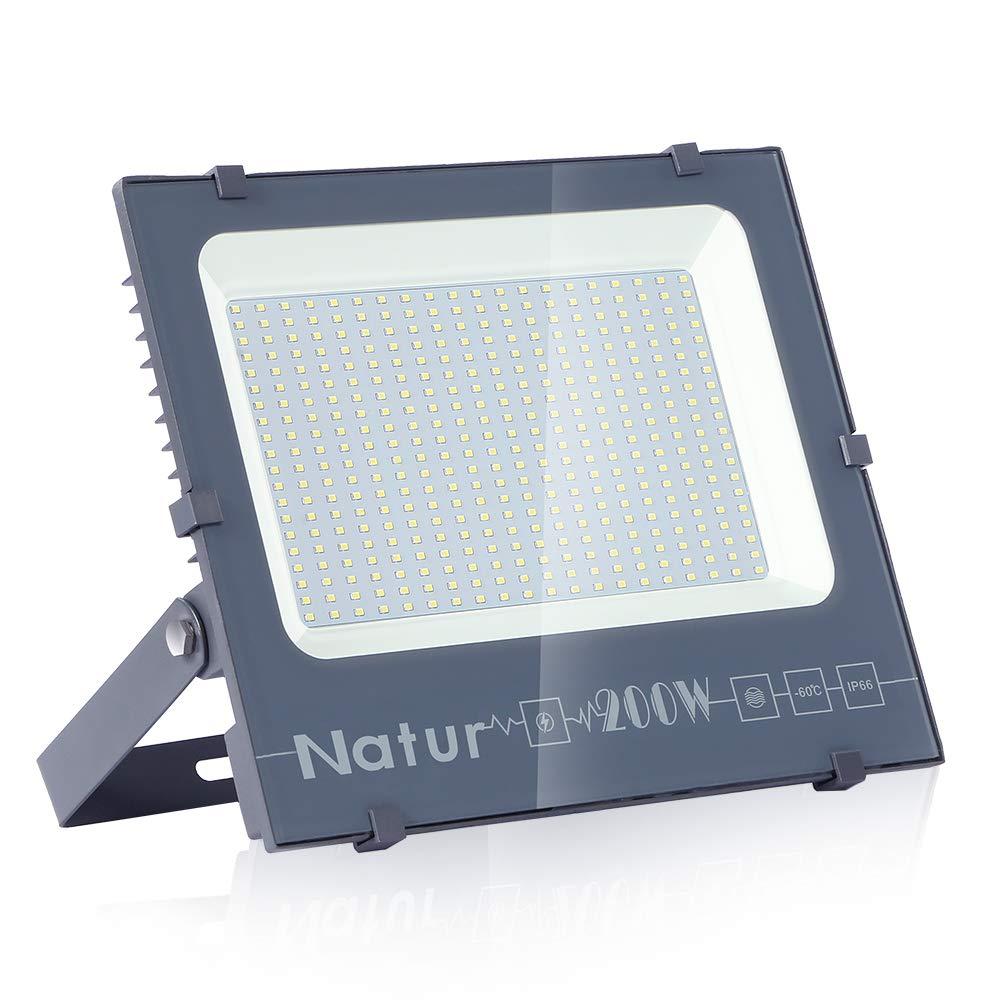 200W LED Foco Exterior de alto brillo,20000LM Impermeable IP66 Proyector Foco LED, Iluminación de Seguridad, 6000K Blanco Frío para Pared,Patio, Camino, Jardín [Clase de eficiencia energética A++] product image