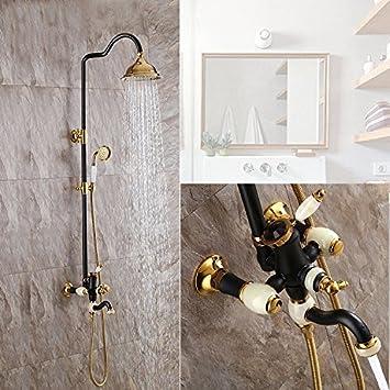 Bijjaladeva Wasserhahn Bad Wasserfall Mischbatterie Waschbecken Waschtisch  Armatur Für Badezimmer Dusche Schwarz + Goldene Dusche Wasserhahn