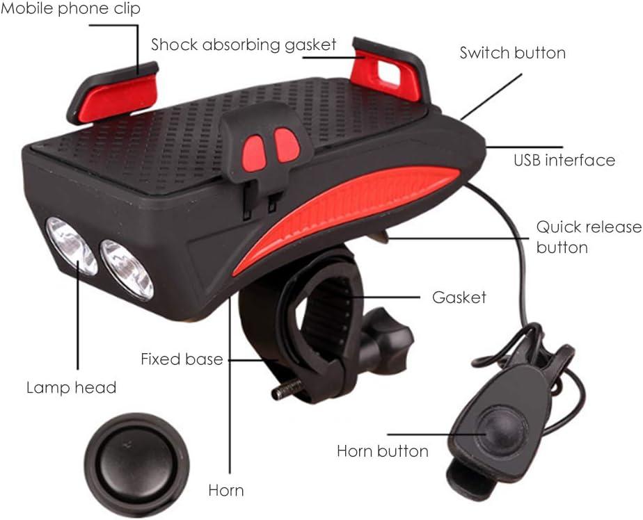 Kappha Wiederaufladbares Fahrrad Frontlicht Set 400 Lumen Super Bright LED Fahrradlicht Set 4000mA USB Wasserdicht Fahrrad Licht Set mit Fahrrad Handyhalter Halterung rot