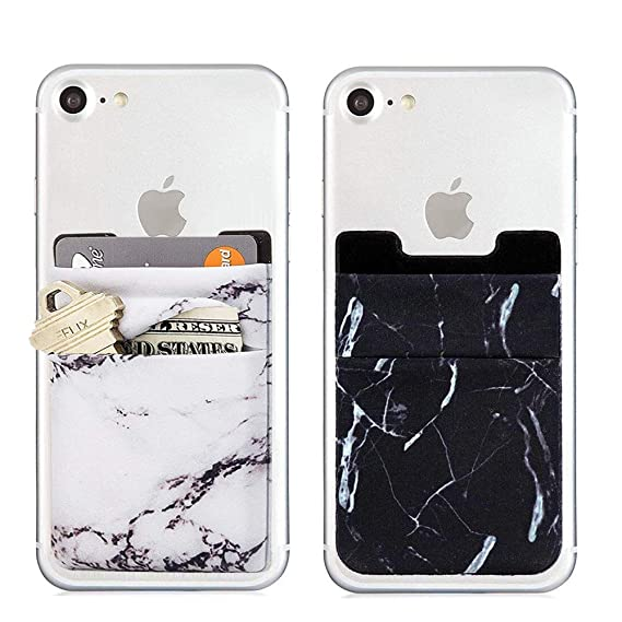 check out b0d82 8c723 Card Holder for Back of Phone, Phone Credit Card Holder Marble Wallet Stick  on Back iPhone Case (White&Black)