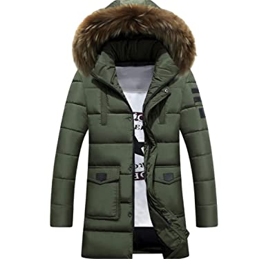 7b629149d0c YYG Mens Thermal Mid Length Plus Size Faux Fur Hoodie Down Quilted Puffer  Jacket Coat Outerwear at Amazon Men's Clothing store:
