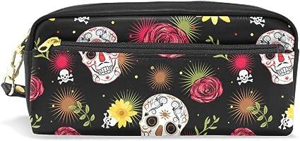 JSTEL - Estuche escolar con diseño de calavera mexicana para niños, niños, adolescentes, bolígrafos, cosméticos, neceser de maquillaje para mujer, bolsa de papelería duradera de gran capacidad: Amazon.es: Oficina y papelería
