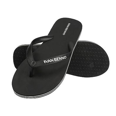 3f1de66ccd5ed IVAN BENNO Men s flip Flops House Indoor Slippers Thongs Slide Sandals for  boy Size 8 Black