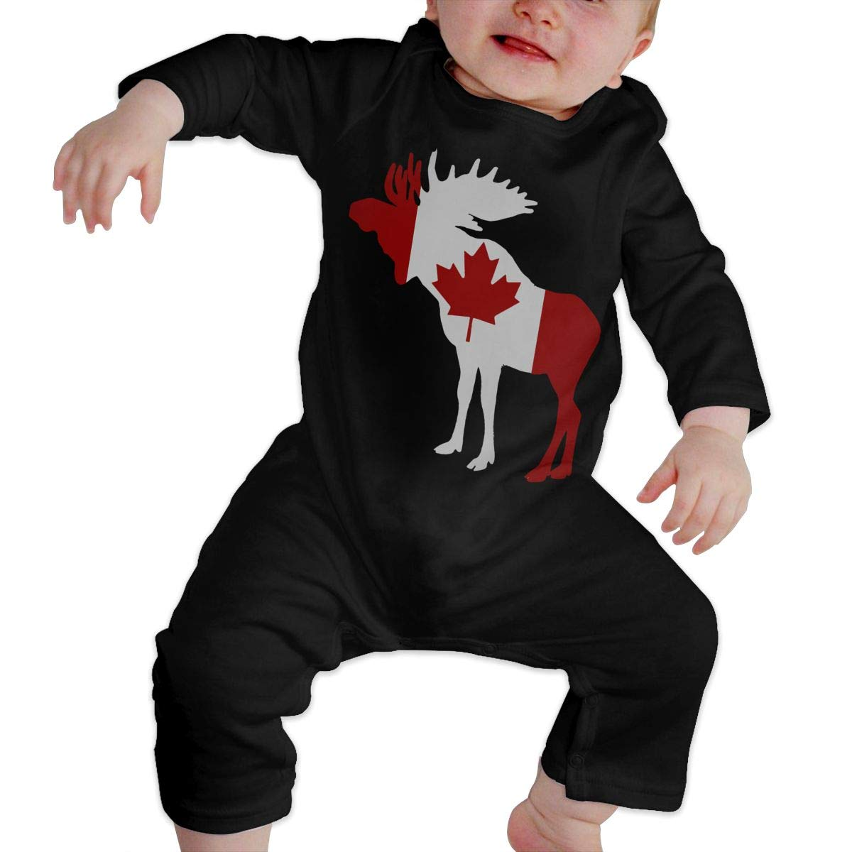 Baby Infant Toddler Cotton Long Sleeve Moose in Flag of Canada Climb Romper Funny Printed Romper Clothes