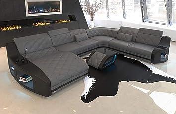 Xxl Leder Sofa Wohnlandschaft Swing Couch Mit Led Beleuchtung Und