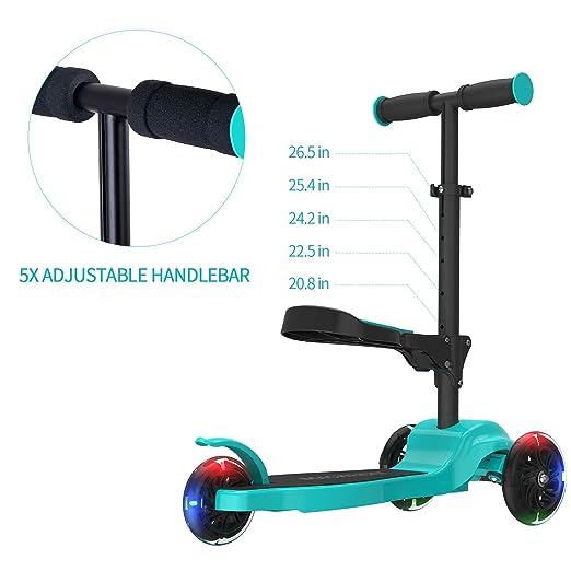 Macwheel Patinete de 3 Ruedas Scooter con Led Luces Manillar Altura Ajustable 53cm-67cm con Freno Posterior para Niños