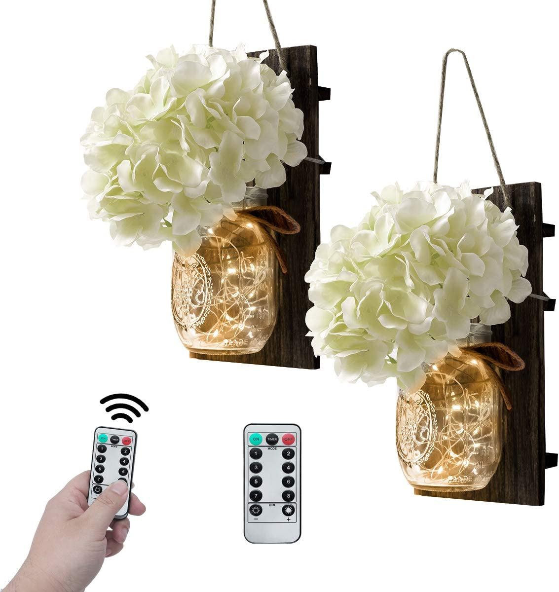VIEFIN Mason Jar Sconces Wall Decor,Rustic Wall Sconces Home Decor with Remote Control, Silk Hydrangea,Dark Brown Wood Board and LED Strip with 20 Fairy Lights(2 Pack, White)