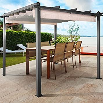 Superieur Probache U2013 Alu 3x3 M Gazebo Pergola With Retractable Roof Cream