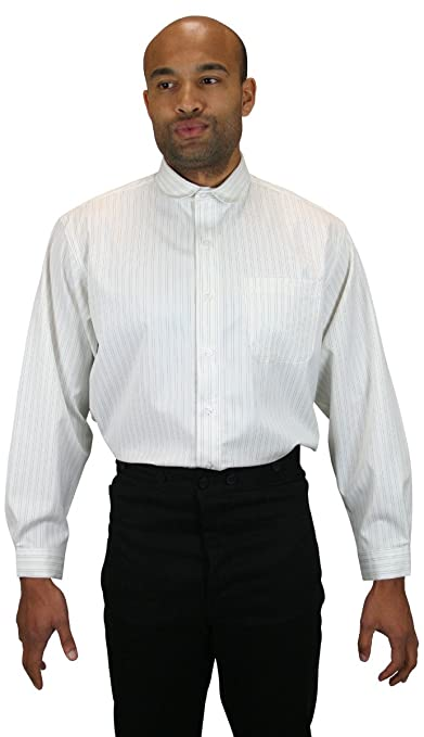 Victorian Men's Shirts- Wingtip, Gambler, Bib, Collarless Striped Virgil Club Collar Dress Shirt $59.95 AT vintagedancer.com
