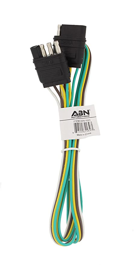 ABN Trailer Wire Extension, 4ft, 4-Way 4-Pin Plug Flat 20 Gauge – on